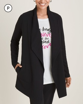 Zenergy Petite French Terry Drape-Front Cardigan