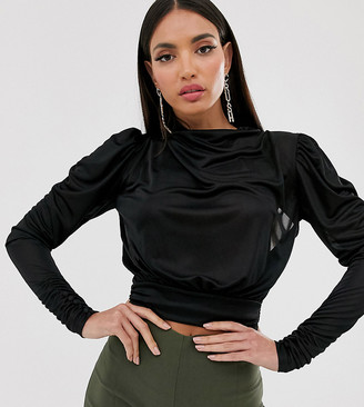 Asos Tall DESIGN Tall cowl neck long sleeve backless top in black