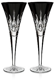 Waterford Lismore Black Flute, Set of 2