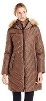 Jones New York Women's Down Coat with Faux Fur-Trimmed Hood