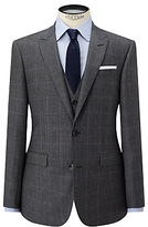 John Lewis Check Super 100s Wool Tailored Fit Suit Jacket, Grey