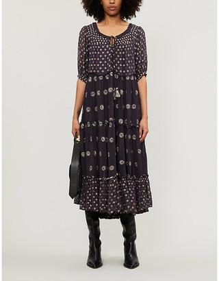 Free People Stella embroidered crepe midi dress