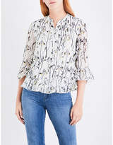 Whistles Wheatsheaf-print fil-coupe shirt
