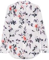 Equipment Slim Signature Floral-print Silk Crepe De Chine Shirt - White