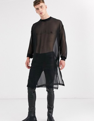 Asos DESIGN oversized extreme longline long sleeve t-shirt with side splits in woven fabric