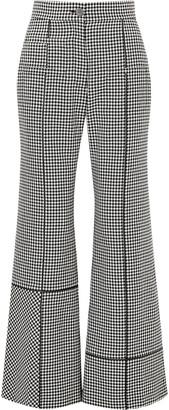 Loewe Leather-trimmed Houndstooth Wool Wide-leg Pants