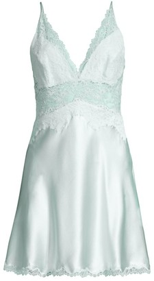 Josie Natori Sleek Lace Detail Silk Chemise