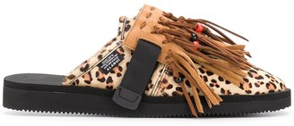 Alanui Biscuit Leopard Suicoke slippers