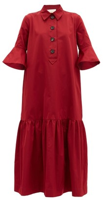 La DoubleJ Artemis Fluted-sleeve Maxi Shirt Dress - Burgundy