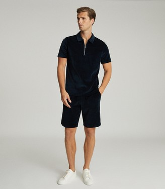 Reiss DALSTON TOWELLING ZIP NECK POLO SHIRT Navy