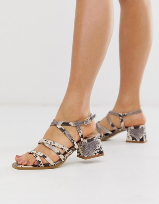RAID Fabrizia snake effect strappy mid heeled square toe sandals