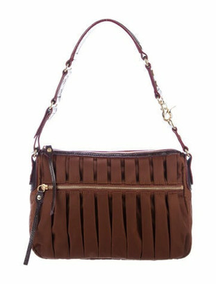 MZ Wallace Leather-Trimmed Nylon Shoulder Bag Brown