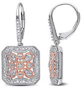 Concerto 0.25 TCW Diamond and Two-Tone Sterling Silver Floral Earrings