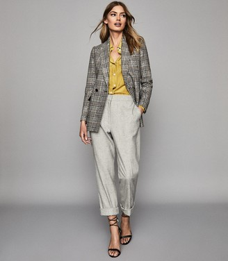 Reiss Leighton - Checked Double Breasted Blazer in Yellow Check