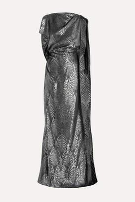 Reem Acra Draped Velvet-trimmed Metallic Jacquard Gown - Silver