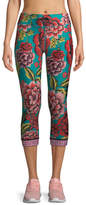 The Upside Feather NYC 3/4 Floral-Print Leggings