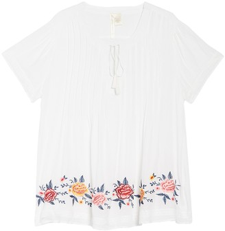 Forgotten Grace Tie Front Embroidered Blouse