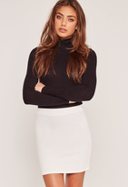 Missguided Petite Stretch Crepe Mini Skirt White