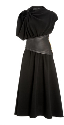 Proenza Schouler Leather-Detailed Asymmetric Crepe Midi Dress
