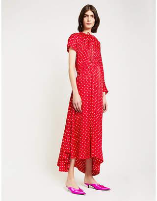 Balenciaga Asymmetric Polka-Dot Silk Maxi Dress