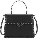 Valentino Garavani Rockstud Medium Leather Top-Handle Satchel Bag, Black
