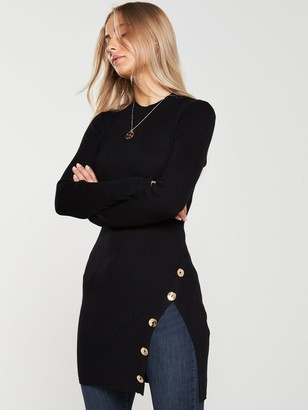 Very Button Side Ribbed Longline Jumper - Black