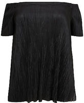 Yours Clothing YoursClothing Plus Size Womens Ladies Tee Shirt Top Plisse Bardot