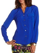 Charlotte Russe Button-Down Woven Blouse