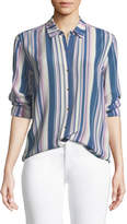 MiH Jeans Simple Long-Sleeve Button-Down Striped Silk Shirt