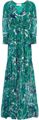 BA&SH Metallic Fil Coupe Floral-print Silk-blend Maxi Dress