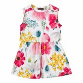 Catimini Floral Print Pleated Skirt Dress