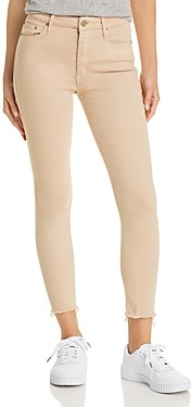 Mother Looker High-Rise Cropped Skinny Jeans in Khaki