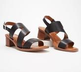 Franco Sarto Leather Heeled Sandals w/ Asymmetrical Strap - Lilah