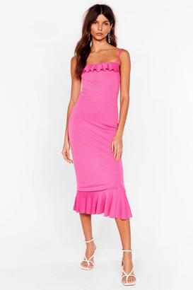 Nasty Gal Womens The Night's Frill Young Ruffle Midi Dress - Hot Pink