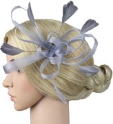 Jypc Lady Sinamay Flower Feather Clip Cocktail Pillbox Hat