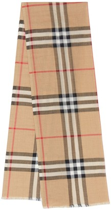 Burberry Mu Giant Check Wool & Silk Gauze Scarf
