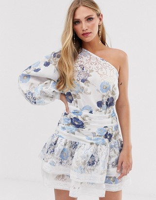 Bronx and Banco Bronx & Banco Lora Sky one sleeve floral mini dress