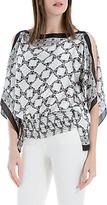 Max Studio Butterfly Print Handkerchief Top, Ivory