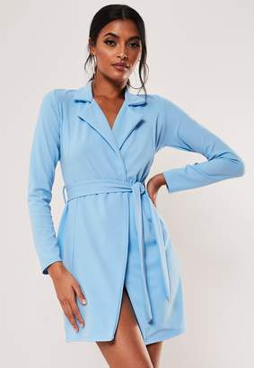 Missguided Blue Fitted Jersey Belted Stretch Wrap Dress