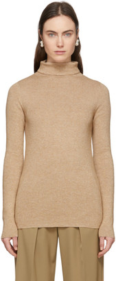 LAUREN MANOOGIAN Beige Alpaca Rib Turtleneck