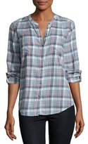 Joie Aleta Plaid Collarless Shirt, Blue