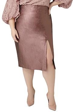 Maree Pour Toi Plus Metallic Faux-Leather Pencil Skirt