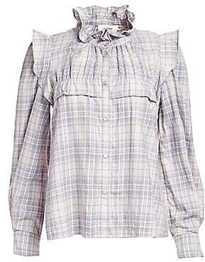 Etoile Isabel Marant Women's Idety Ruffle-Shoulder Flannel Plaid Top