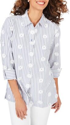Foxcroft Libby Sea Stripe Embroidered Tunic Shirt