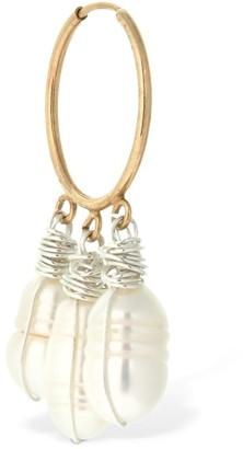 WALD BERLIN Chouchou Mono Hoop Earring W/ Pearls