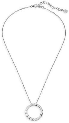 Majorica Sterling Silver and 4MM White Organic Man-Made Pearl Circle Pendant Necklace