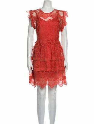 Marissa Webb Lace Pattern Knee-Length Dress Orange