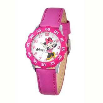 Disney Minnie Girls'Stainless Steel Watch, Pink Bezel, Pink Leather Strap