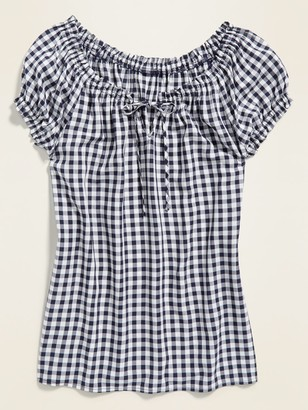 Old Navy Ruffled Tie-Neck Gingham Blouse for Women