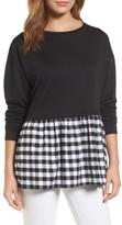 Women's Caslon Poplin Peplum Hem Sweatshirt